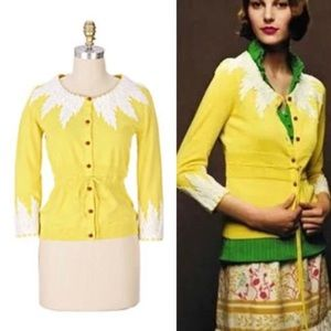 ANTHROPOLOGIE Moth Wisteria Cardigan Yellow